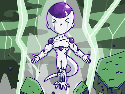 Frieza flat design flat art character drawing character design dragon ball frieza fan art drawing illustration