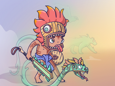 Aztec warrior concept art flat design procreate character design character graphic design illustration