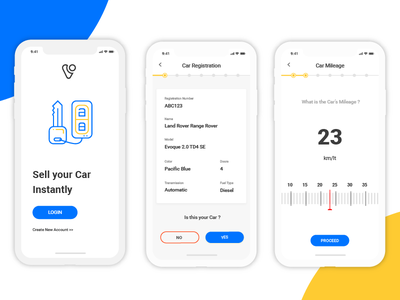 Car Selling Platform - Ui/Ux Concept mileage yellow ui blue ui professional white minimal ui clean branding app app design