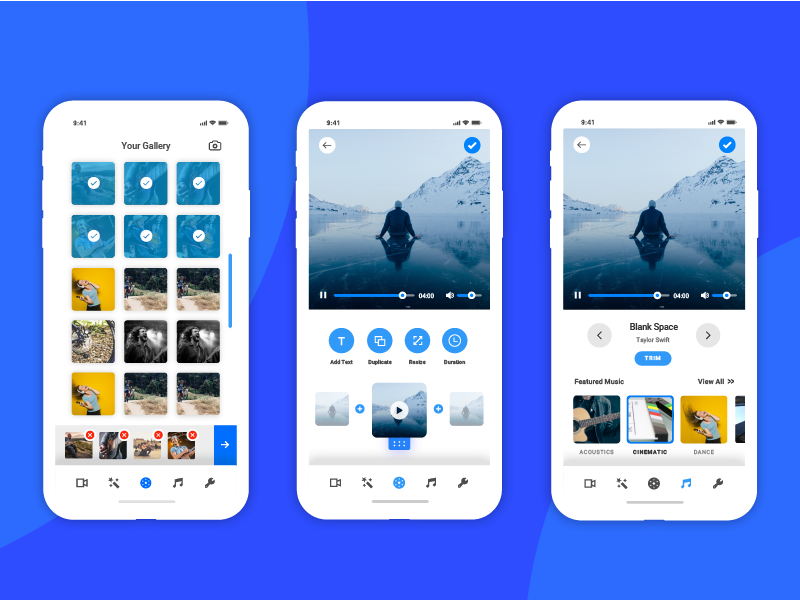Video Editing App - UI/UX Concept editing app video ui app design gallery gallery design audio app minimal app video editing