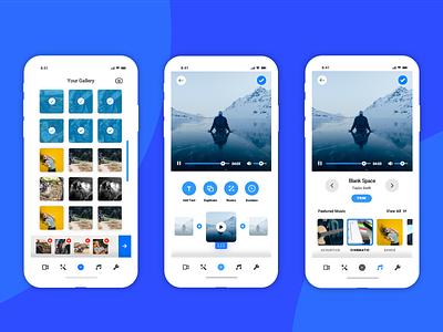 Video Editing App - UI/UX Concept editing app video ui app design gallery gallery design audio app minimal app video editing