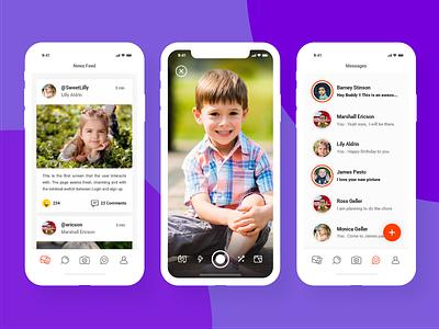 Social Network for Kids - App Concept best design minimal ui social network for kids app kids app social app social network