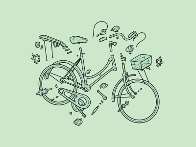 Exploded cruiser bike technical drawing line art digital drawing vectorial wall art bicycles pastel color mint green poster bike culture bike love digital art technical illustrator bicycle cycling bike illustration procreate digital illustration
