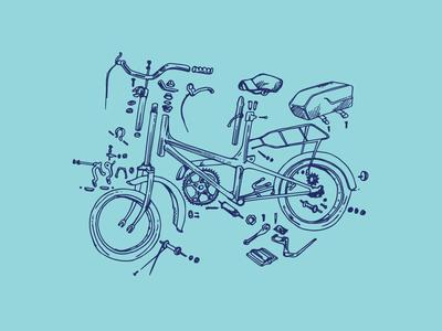 Exploded folding bike
