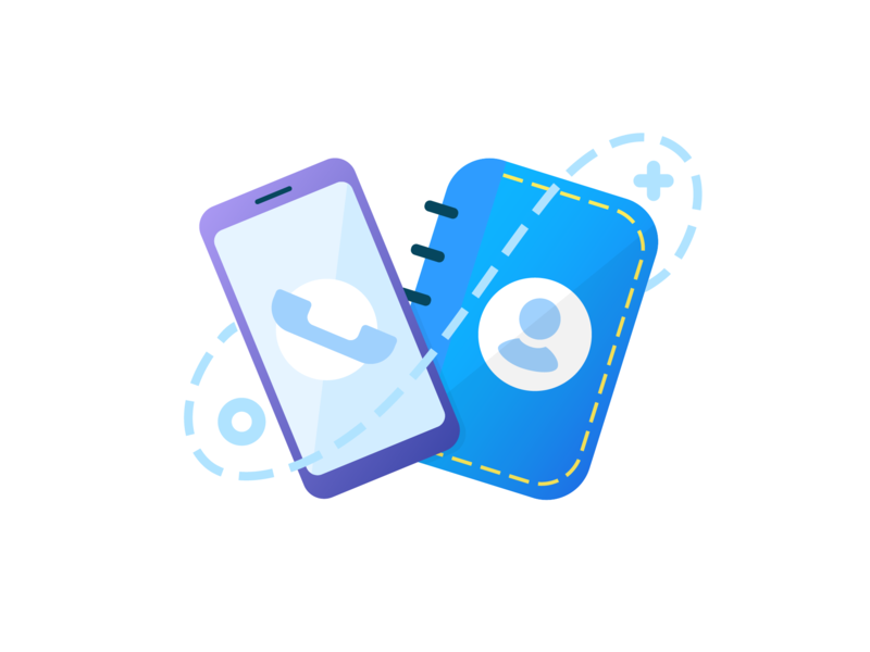 PhoneBook contacts phone gradient vector tech illustration mobile app icon