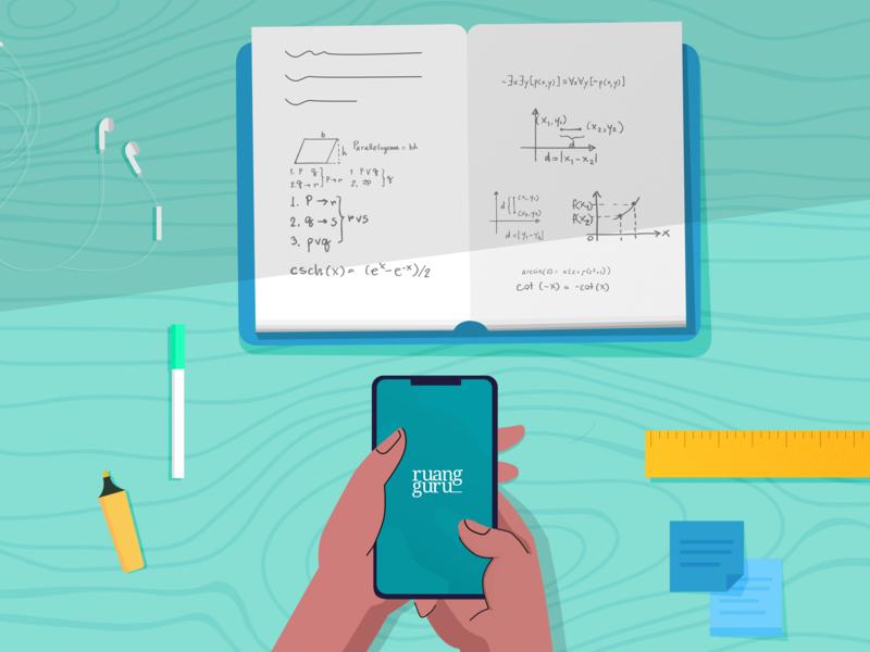 Confuse Homework ruangguru math homework green vector flat illustration