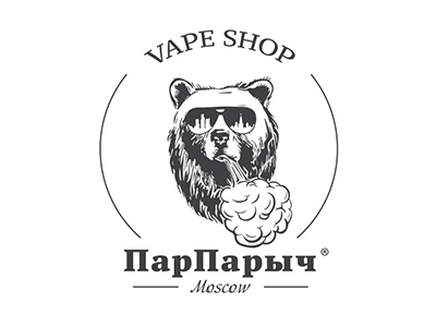 Logo for vape shop from Moscow «ПарПарыч» bear vape smoke steam vaping