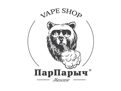 Logo for vape shop from Moscow «ПарПарыч» bear vape smoke steam vaping