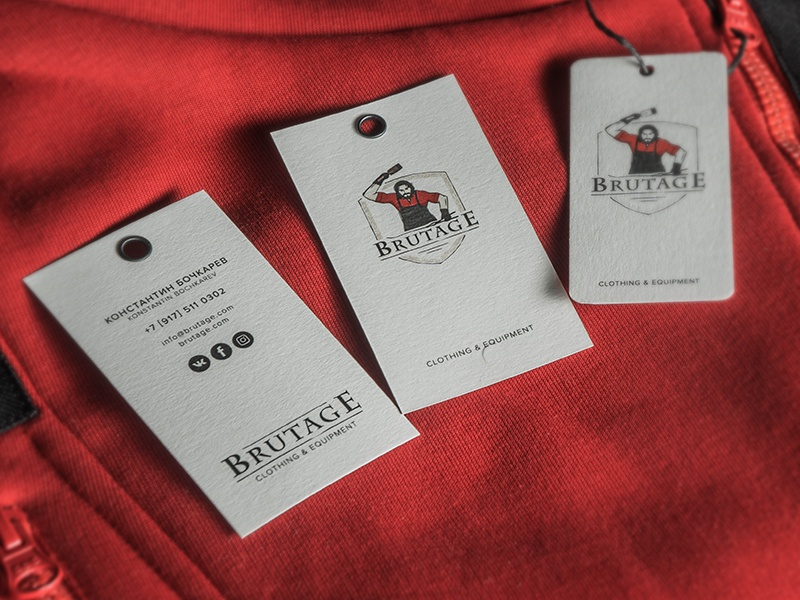 business card & tag «Brutage» smith shield equipment clothing brutal blacksmith tag business card card logo
