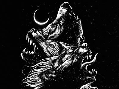 Available illustraion wolves blackwolf wolf dark artist band merch merch design illustration artwork t-shirt design