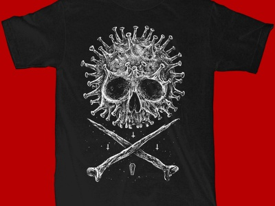 Available sebrodbrick dotwork die death skullandbone viruses virus skull art macabre skull dark artist dark art band merch merch design illustration artwork t-shirt design