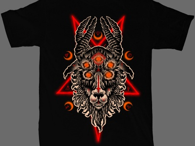 Available sebrodbrick macabre dark artist dark art band merch merch design illustration artwork t-shirt design symbolism satanic satan goat