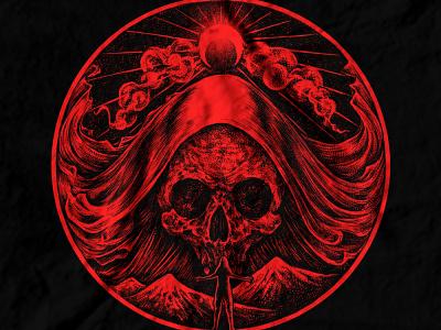 SOLD dribbble girl red dotwork horror art skull art macabre skull dark art band merch merch design illustration artwork t-shirt design