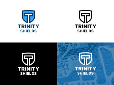 Trinity Shields Final visual identity trinity shields trinity tech shield logos logo design logo concepts logo electronics branding
