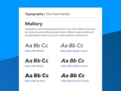 Typography for Health Brand style guide health visual identity ui design ui frere-jones mallory font family typography component library branding
