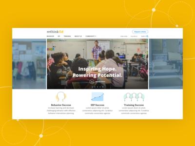 RethinkEd - Homepage Design open sans abelard icons carousel mantel homepage tech branding ux ui education
