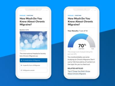 Quiz gauge quiz wellness editorial design cards homepage health