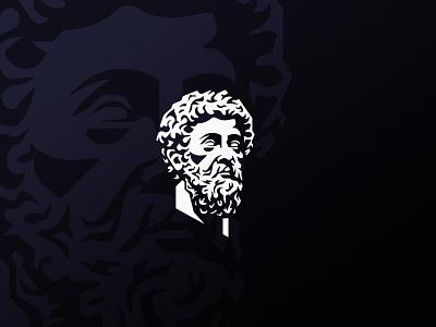 Marcus Aurelius face head statue aurelius marcus emperor roma roman rome illustration design logotype symbol mark logo