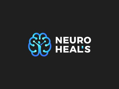 Brain mark for sale logotype gradient branding symbol mark logo healing heal neurology brain