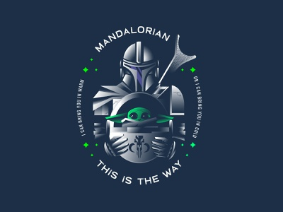 Mandalorian disney star wars baby yoda mandalorian starwars gradient geometric badge illustration design logo