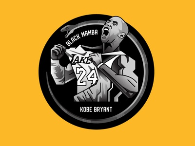 Kobe Bryant basketball mamba black bryant kobebryant kobe nba 24 geometric badge illustration design logo