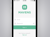 Mavens – Sign in screen