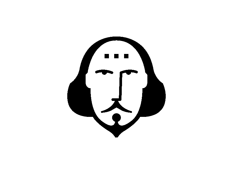 Shakespeare In Bits flat 2d design branding vector logo