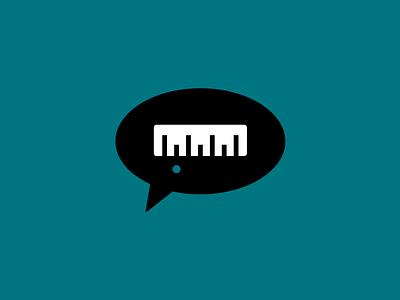 Measured speech bubble ruler vector icon flat 2d design