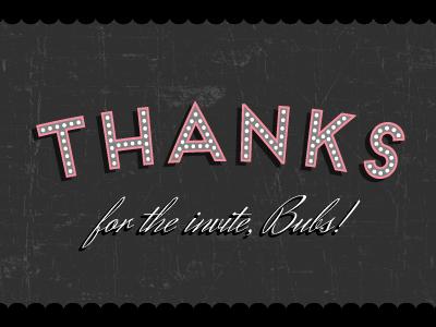 Thanks! thanks invitation debut typography