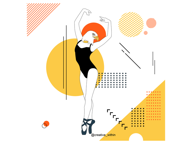 Woman: Mix of Strength & Grace artwork posture ballet dance geometric illustration illustrator design flat design vector illustration flat adobe illustrator