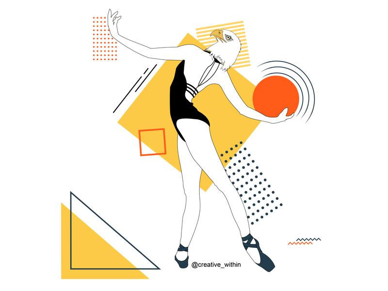 Woman: Mix-of-Strength & Grace illustration art illustration design illustrations artforsale artworks website geometric design vector art design illustrator flat design illustration flat adobe illustrator