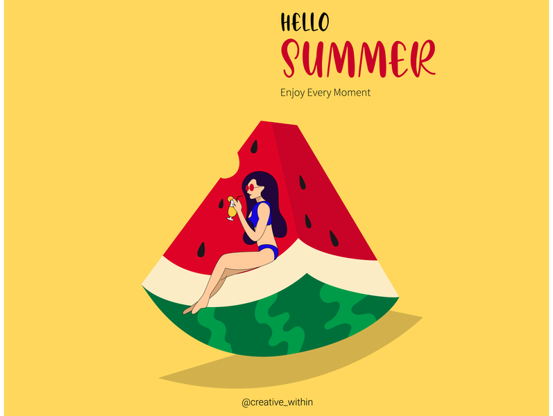 Hello Summer juice oranges vector colourful fruity beach 2d character illustration wallpaper summer fruit illustration watermelon