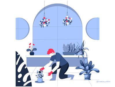 Pandemic Learning- I plant illustration plants colour palette covid19 covid flat illustration flatdesign gardening pandemic