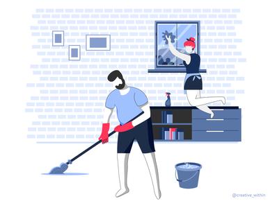 Pandemic Learning - II illustration flat illustration cleaning couple illustration couplegoals pandemic covid