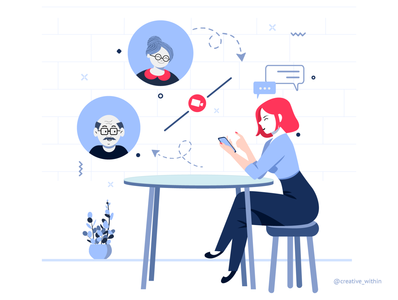 Pandemic Learnings - III flat design old man lady video calling parents colour palette adobe illustrator family illustration