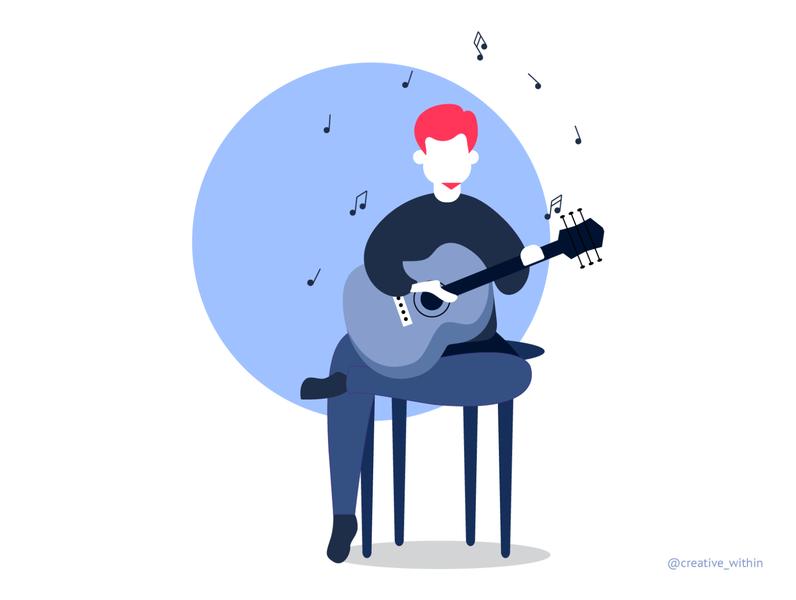 Pandemic Learning - IV musicians characterdesign character music app musician music art artwork adobe illustrator vector guitar music flat design illustration