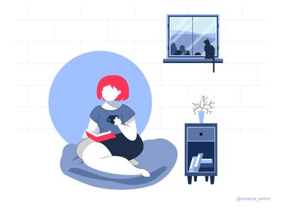 Pandemic Learning - V webdesign mobile design covid19 pandemic flat design illustration books reading book girl