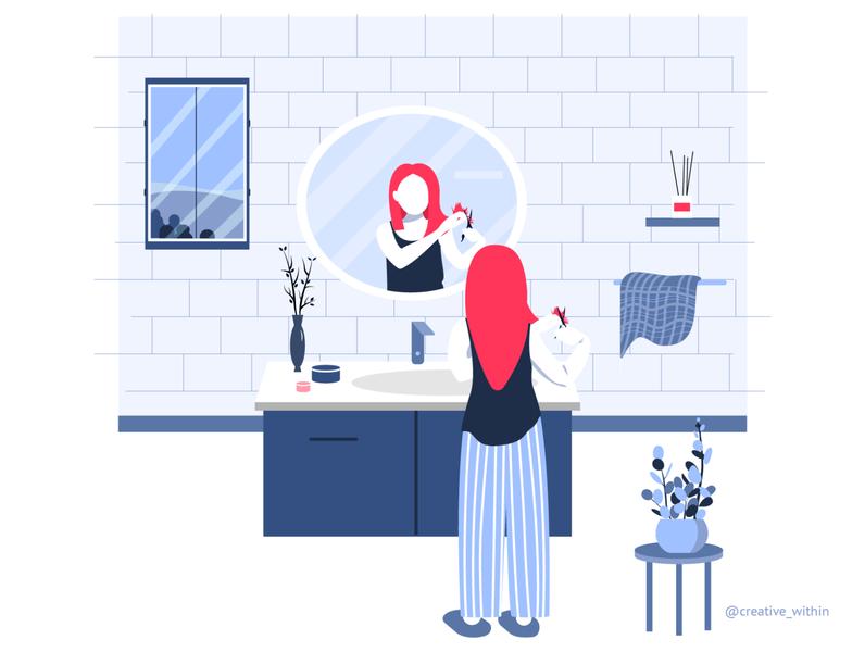Pandemic Learning - VI colour palette mobile app uiux hair haircuts hygiene beauty selfcare haircut vector flat design illustration