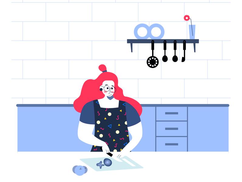 Pandemic Learning - VII monochromatic minimal illustrator adobe illustrator website vector vegetables cookbook woman cooking flat design illustration kitchen cooking