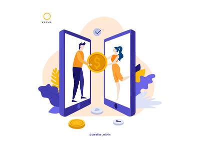 Illustrations: KARMA brand flat design illustrator branding money app finance app website vector illustration flat design adobe illustrator