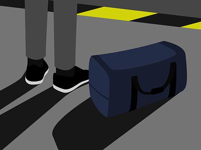 Waiting bag duffle shoes illustration