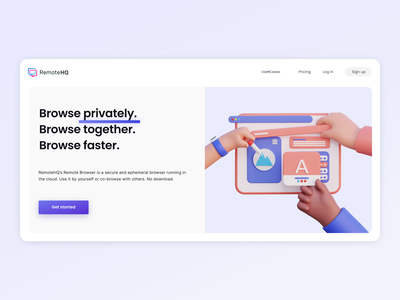 RemoteHQ landing page startup white space plain design illustration 3d software malware free shared browser isolated browser remote browser 3d illustration remote browser landing page