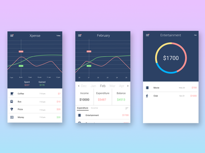 Xpense expense manager flat clean ui mobile