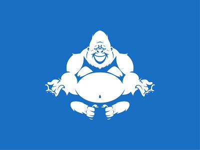 Yoga Gorilla design logo flat graphic design illustration vector
