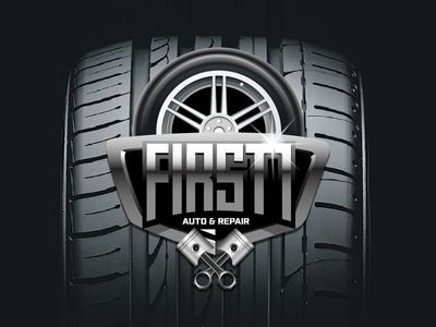 First 1 Auto & Repair vector branding illustration graphic design logo design