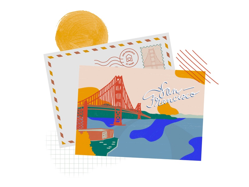 san francisco postcard firstshot postcard design sanfrancisco procreate illustration illustrator dribbbleweeklywarmup