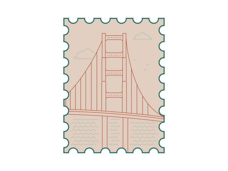 san francisco stamp icon sanfrancisco stamp design stamp vector postcard illustrator illustration dribbbleweeklywarmup design
