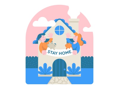 STAY HOME poster character sticker print stay home work from home epidemic design coronavirus virus covid-19 isolation quarantine cartoon illustration flat modern house stay home