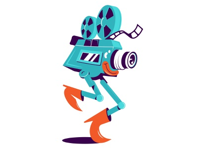 Сartoon character of movie camera culture concept mascot camera icon apparel vintage film camera movie flat art vector character graphic sticker print design cartoon illustration