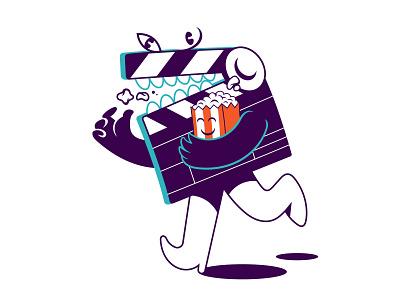 Сartoon character of Clapper Board motion festival cinema film popcorn funny board clapper clapperboard movie vintage art vector character graphic sticker print design cartoon illustration